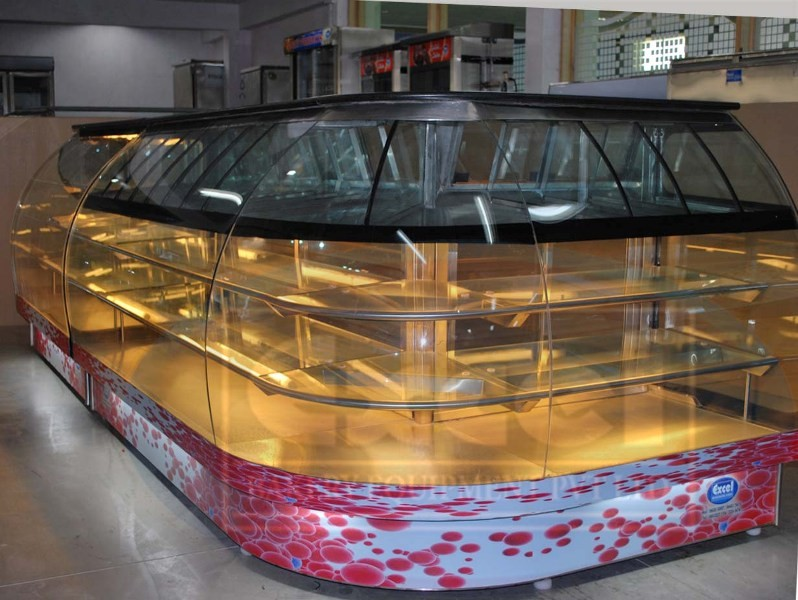 1355941436_Exend - LI ( Excel Bend Glass Showcase L Shape with Inside Mixture Counter ) excel refrigeration service excel bakery equipments manufacturer india