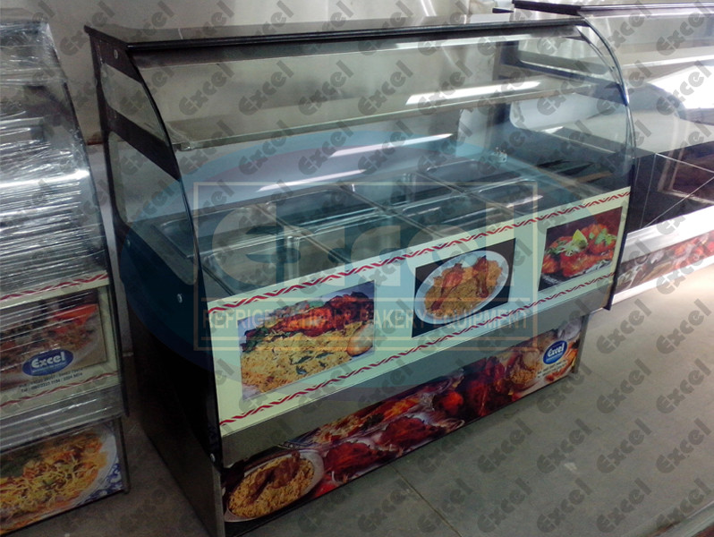 Bain marie counter showcase biryani display hot kebab display hot sweets display showcase counter gravy curry