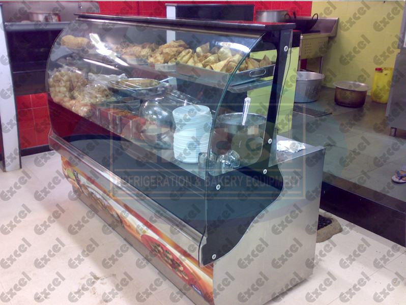 Chats counter paani poori display showcase masala puri samosa heater bhel kachori alootikki pappadi bakery equipment