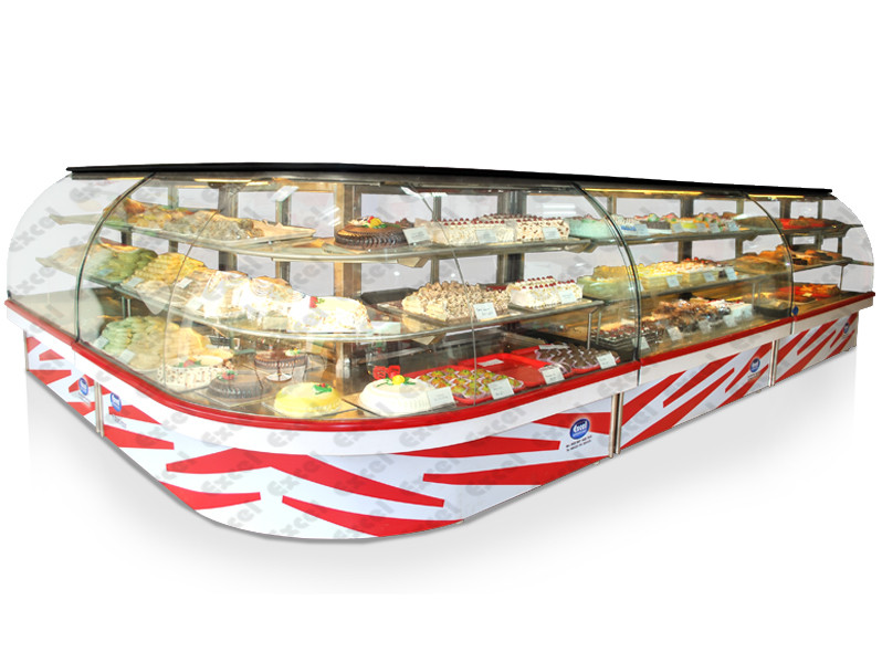 bend glass display showcase for pastry bakery products display counter manufacturer excel bakery equipment bangalore india