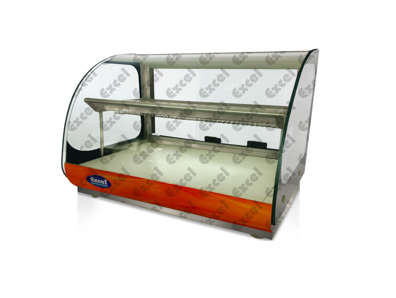 Bend glass Hot case food warmer puffs heater hot display showcase cabinet heater bakery equipments bangalore