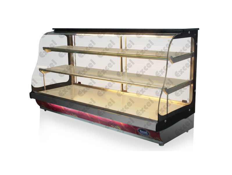 W bend glass display showcase counter bakery products display counter manufacturer excel bakery equipment Bangalore india