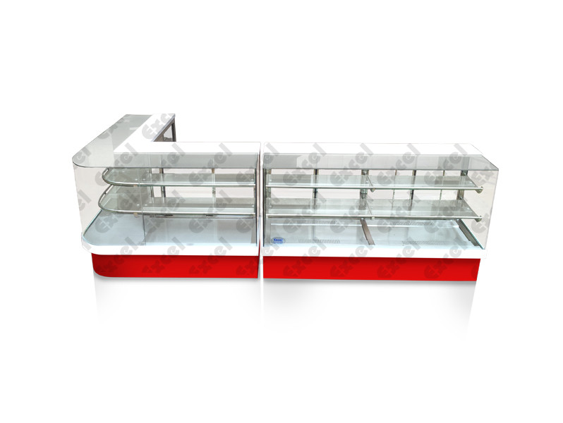 Straight glass refrigerated display counter corian granite pastry bakery products manufacturer excel bakery equipment bangalore india