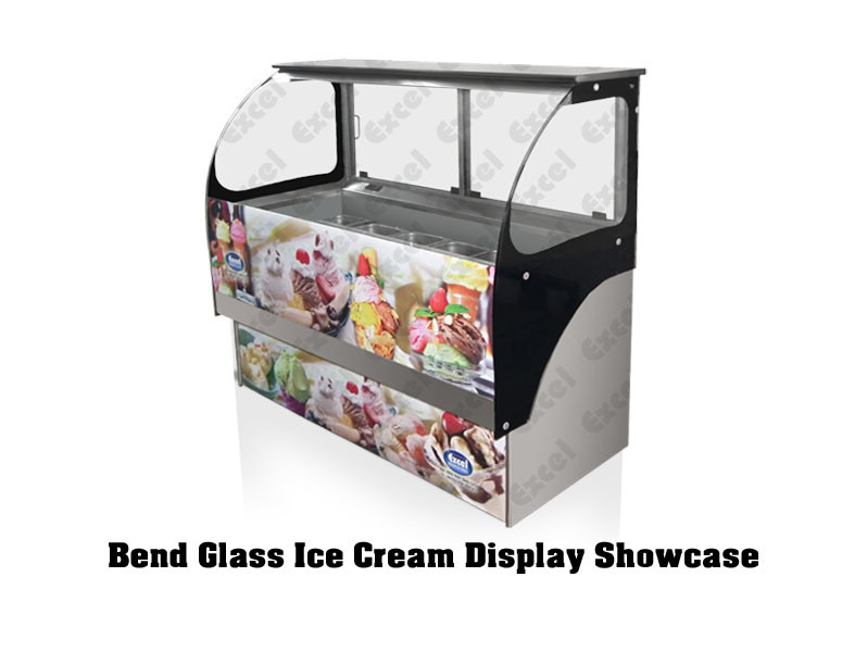 Ice cream display showcase counter supplier gelato toppings case fried natural yogurt bend glass freezer manufacturer