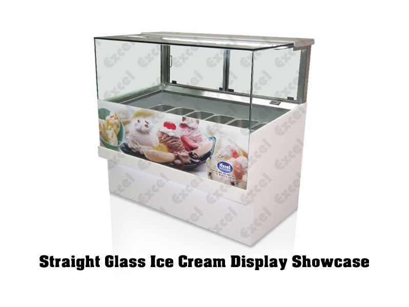 Ice cream display showcase counter supplier gelato toppings case fried natural yogurt straight glass freezer manufacturer