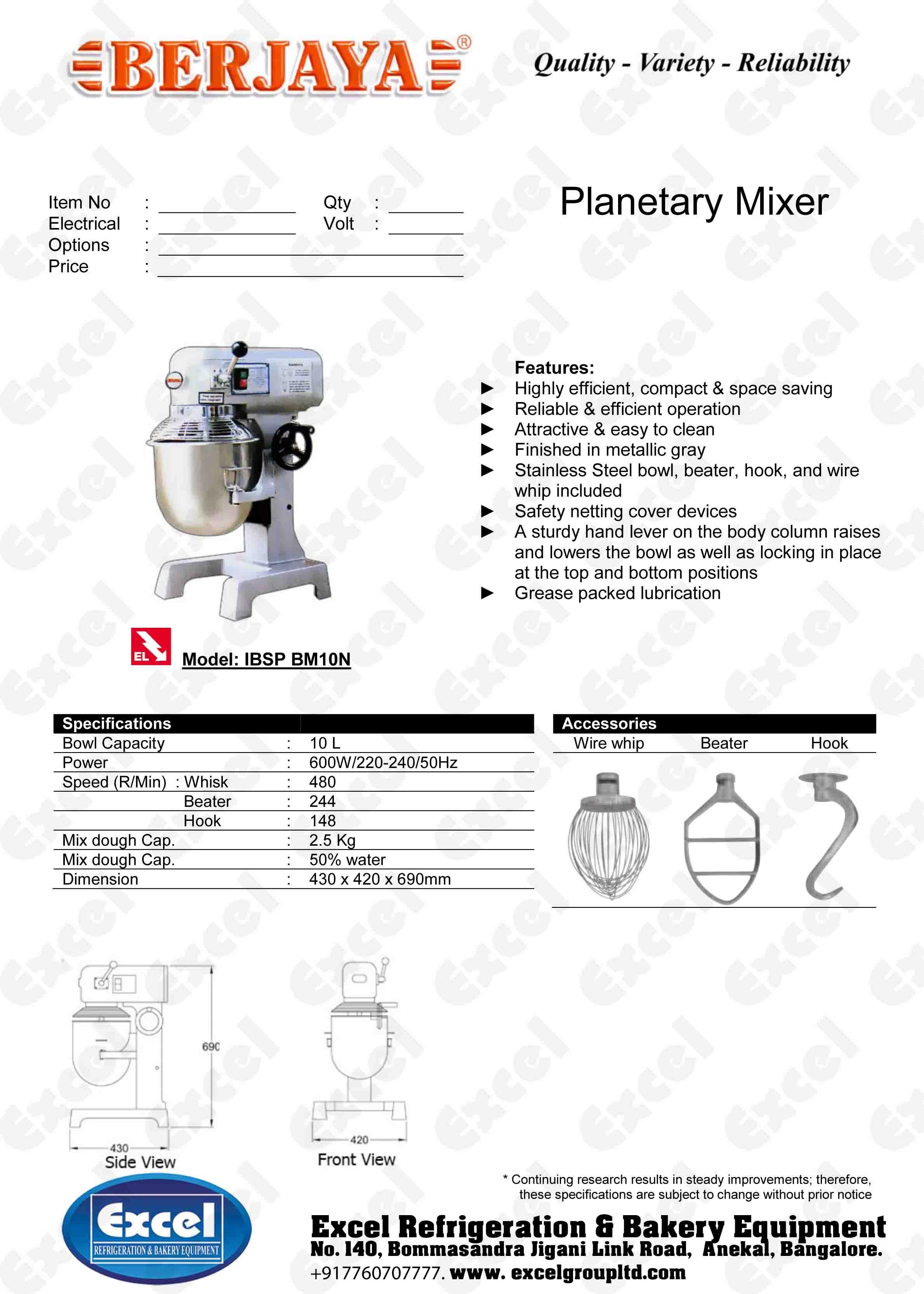 Berjaya Planetary Mixer Bm10n Excel Refrigeration Bakery Dough Wiring Diagram