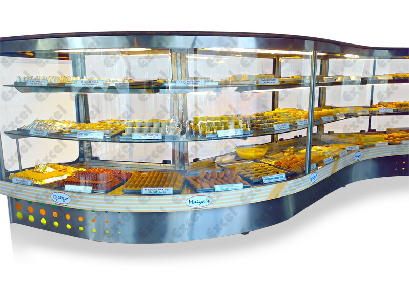 Swirl Straight glass refrigerated display counter corian granite pastry cooler manufacturer excel bakery equipment bangalore india